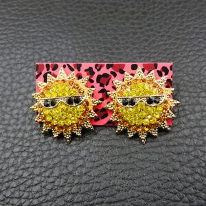 New Betsey Johnson Rare Alloy Rhinestone Gold Sun Stud Earring Fashion Jewelry