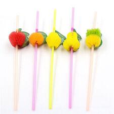 20x Art Straw Multi-Color Fruit Cocktail Fluorescent Umbrella Hen Party 3C
