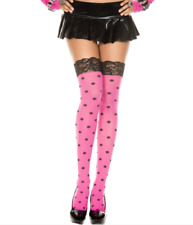Music Legs Polka Dot Opaque Lace Top Thigh High and Matching Gloves 4218 O/S