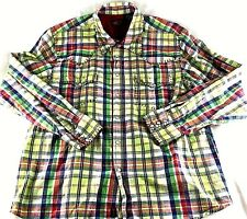 Martini Ranch Men's Large Pearl Snap Long Sleeve Plaid Western Rockabilly Shirt