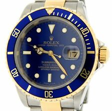 Rolex Submariner Date 18k Yellow Gold & Stainless Steel Watch Blue Sub SEL 16613