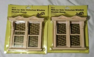 2 Dollhouse mini 1:12 Housework's Victorian Window Double Hung Side By Side 5015
