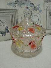 Vintage/Retro Large Coloured Glass Crown Sugar/Trinket/Sweet Jar BowlLid Kitchen