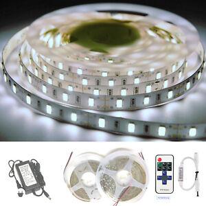 10m LED SMD 5050 Nicht wasserdicht Kaltweiß Streifen Lichtleiste Netzteil
