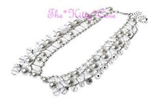 White Simulated Pearl & Clear Czech Lead Crystal Glass Peter Pan Collar Necklace