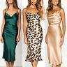 Womens Bodycon Satin Silk Slip Dress V Neck Party Evening Cocktail Midi Dresses