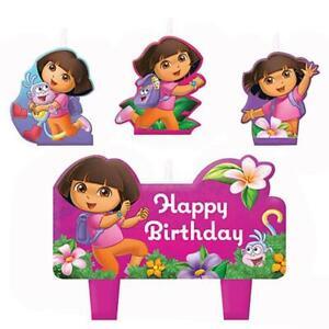 Dora Flower Adventure 4 Piece Molded Cake Topper Candle Set Birthday Supplies