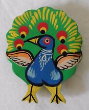 Indian Hand Painted Peacock Wood Magnet - 6cm x 7.5cm