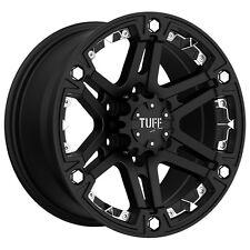 """4-NEW Tuff T-01 16x8 6x139.7/6x5.5"""" -13mm Flat Black Wheels Rims"""