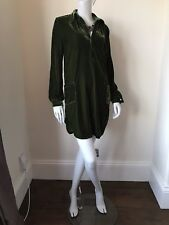 Green Velvet Shirt Dress/Tunic Artisan NEW One Size UK 8 10 12 14 Oversize LMT