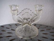 Antique Art Deco Depression Glass Candelabra Candlestick IRIS Crystal Floral
