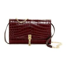 New Elizabeth and James Cynnie Croc Embossed Leather Wallet on a Chain $345