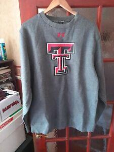 Under Armour Coldgear Grey Sweatshirt Texas Tech Red Raiders Size Large Loose