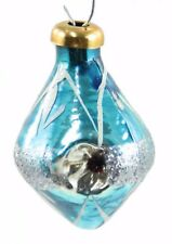 Glass Blue Silver Glitter White Indent Christmas Ornament Holiday Decoration