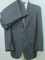 Southwick Imported Wool Gray Striped Two Piece Men's Suit 42 R 36x30 Made in USA