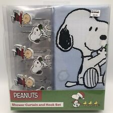 Peanuts Shower Curtain Snoopy Charlie Brown Ice Skating Christmas Theme w Hooks