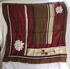 "Vintage Jean D'Orly Silk Handrolled Edges Square Scarf 30"" Brown, Cream, Red"