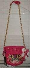 ED HARDY BRIGHT PINK LEATHER PURSE~NEW~CHAIN SHOULDER STRAP + HEART COIN PURSE