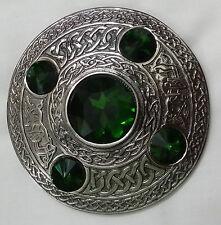 Highland Kilt Mouche Plaid Broche Finition Antique Vert Pierre Celtique Femmes