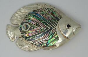 ***Large Heavy Vintage Handmade Sterling Silver Abalone Tropical Fish Brooch***