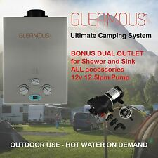 Instant LPG Portable Gas Hot Water Camp Shower Heater 4WD Caravan Horse Bonus