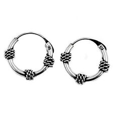 Antique Braided Bali Hoop 925 Sterling Silver Earrings