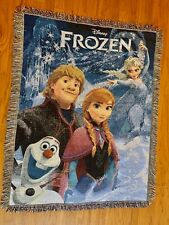 "Disney Frozen Woven Throw Tapestry Blanket Elsa Snow Queen Olaf Anna 60"" X  49"""
