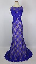 NWT Jovani Size 12 Memaid Cut out Lace Royal $500 Dress Prom Formal Evening Long