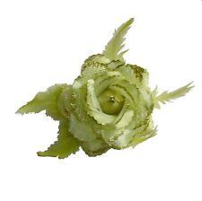 Fleur en tissus verte N°11, accessoire de mariage