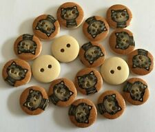 18 Cats  - LOT 9 - Wooden Buttons - Sewing, Craft, Scrapbooking,Quilting