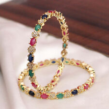 Indian Ethnic Bollywood Multi CZ Stone Bangle Set Kadas Bracelets Bridal Jewelry