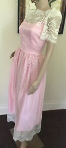 60's Vintage Pink Taffeta White Lace Tea Dress
