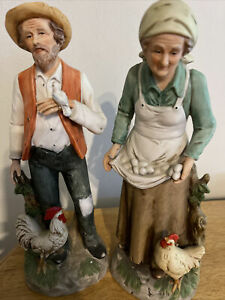 Old Man and Woman Farmers with Chickens and Eggs.