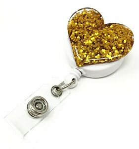 Multi color Bling Heart Retractable ID Badge Reel Holder with Swivel Clip