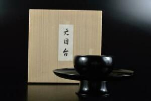 L507: Japanese Wooden Lacquer ware Tenmoku TEABOWL STAND/tray Powdered green tea