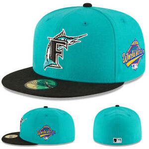 New Era MLB Florida Marlins Teal Fitted Hat 1997 World Series Grey Underbrim Cap