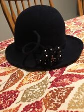 Vintage Black With Flower New York Mr. John Classic Paris Hat Excello 100% Wool