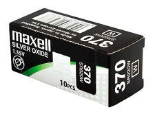 10 x Maxell 370 Pile Batterie Scatola Mercury Free Silver Oxide SR920W 1.55V