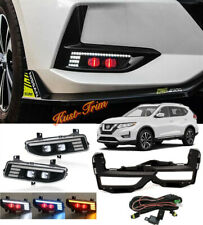 For Nissan Rogue X-Trail 2017-2020 LED Front Fog light Kit w/Switch Cable Bezel