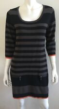 FOIL NZ black stripe wool blend knit jumper dress ~ sz M