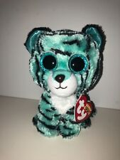 TY TESS BLUE TIGER BEANIE BOOS**JUSTICE**-NEW, MINT TAG*HARD TO FIND*SO FUN*