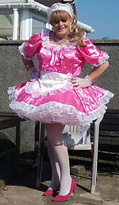 Hot Pink Slippery Satin Lockable Sissy Maid uniform with optional petticoats