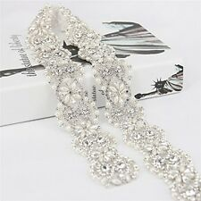 1 Yard Vintage Crystal Wedding Rhinestone Pearl Trim Applique for Bridal Sash