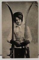 NORGE Postcard RPPC Lady with Skis Posted 1912 to Wood Lake Minnesota AALESUND