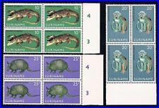 SURINAM 1969 ANIMALS in blocks of 4 MNH MONKEY, CROCODILE, REPTILES