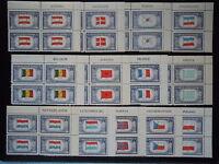 1944 Overrun Countries #909-921 Plate Blocks MNH OG
