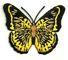 Butterfly - Insect - Black/Yellow/Metallic Gold - Embroidered Iron On patch