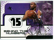 2001-02 Fleer E-X Behind the Numbers VINCE CARTER On-Card Auto Rare SP