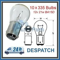 Box Of 10 No Stop//Tail Light Bulbs Double Contact 12v 21w Clear Long Life 335