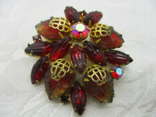 VINTAGE ESTATE JEWELRY MOLDED RED GLASS LEAF AB RHINESTONE BROOCH PIN GOLD TONE